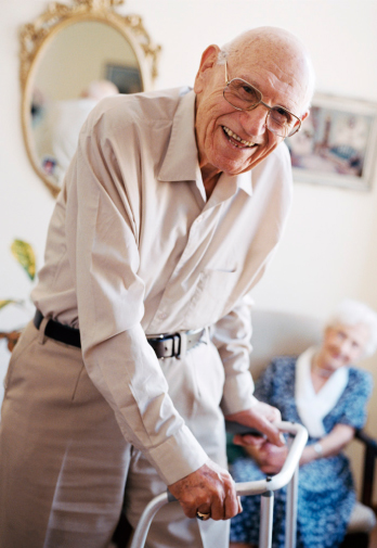Image of a elderly man with a walker